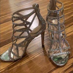 Sliver sparkly cage heels